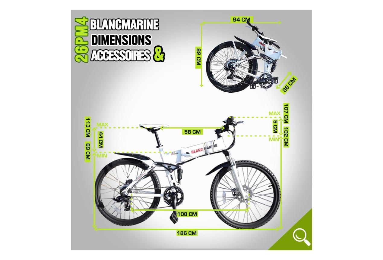 dimensions du modèle 26PM4 electrique Blancmarine 7 vitesses