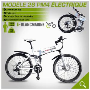Présentation du modèle pliable blanc de la marque blancmarine 26PM4 electrique 7 vitesses