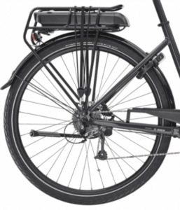 roue arrière avec un porte bagage du velo de ville electrique Trek Verve + 1 Lowstep 300 Wh Shimano Altus 8v 300 2020 noir