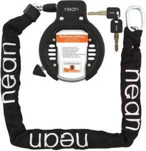 nean Chaîne antivol pour cadre de vélo avec chaîne d'insertion et kit de montage Noir
