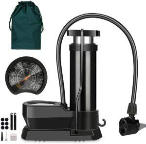 Mini Pompe à Vélo Portable, Pompe à Pied avec Manomètre et Aiguille à Bille de Gaz